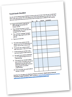 Teach-back checklist