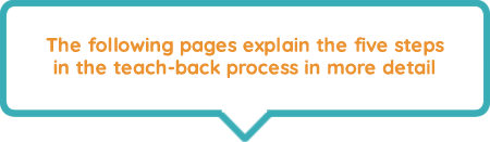 Five key steps in the teach-back process